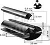 Joint caoutchouc, 25x18 mm, 25 m